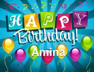 Happy Birthday Amina 300x231 صور ِاسم امينة مزخرف انجليزى , معنى اسم امينة و شعر و غلاف و رمزيات
