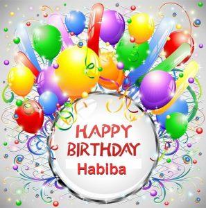 Happy Birthday Habiba 297x300 صور ِاسم حبيبة مزخرف انجليزى , معنى اسم حبيبة و شعر و غلاف و رمزيات