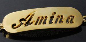 amina gold plated name necklace bracelet jewellery set gold plating yellow 5 29681 p 300x147 صور ِاسم امينة مزخرف انجليزى , معنى اسم امينة و شعر و غلاف و رمزيات