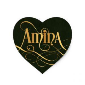 personalized swirly script amina gold on green heart sticker rd9c5c5f64e0345f29c4f7fc6f547ef74 v9w0n 8byvr 324 300x300 صور ِاسم امينة مزخرف انجليزى , معنى اسم امينة و شعر و غلاف و رمزيات