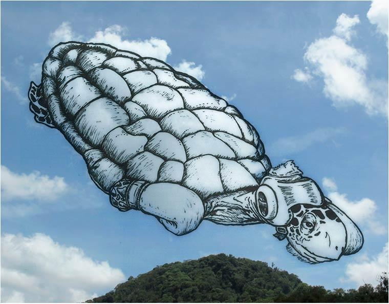فنون غريبة الرسم على الغيوم أغرب اللوحات الرسم على السحاب